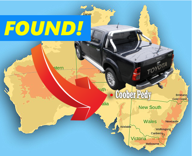 Coober Pedy Map Toyota SR5 Found