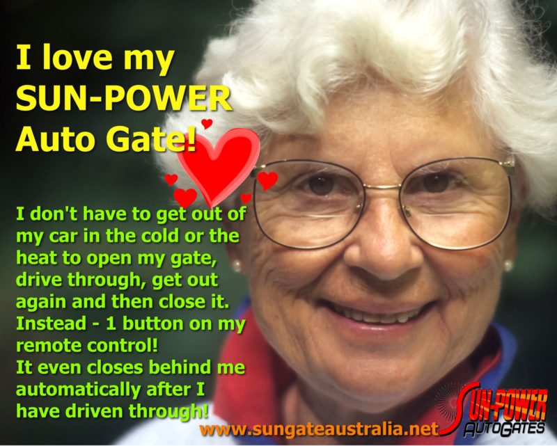 Valentines Gift 2015. I love my SUN-POWER Auto Gate. Do not buy a Mighty Mule. They are a Donkey. Buy an XP from Sun Power. XP is Australian Made and makes everyone smile.