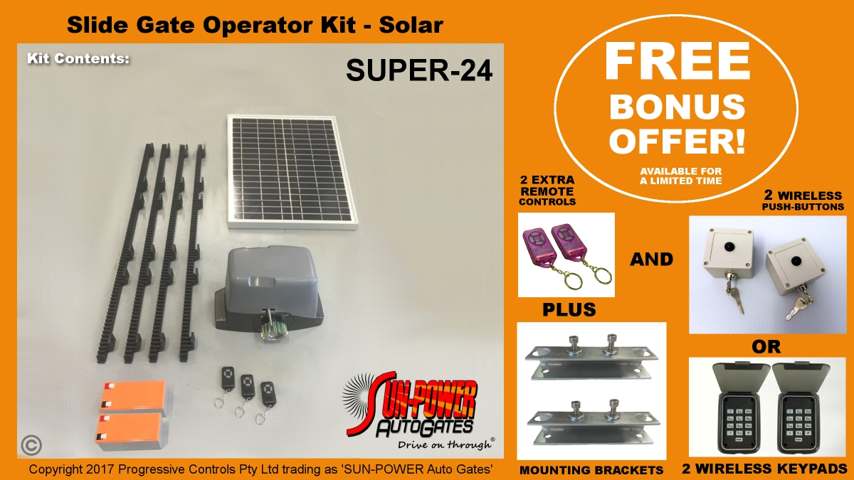 Super 24 Slide Gate Kit Solar Sungate Australia